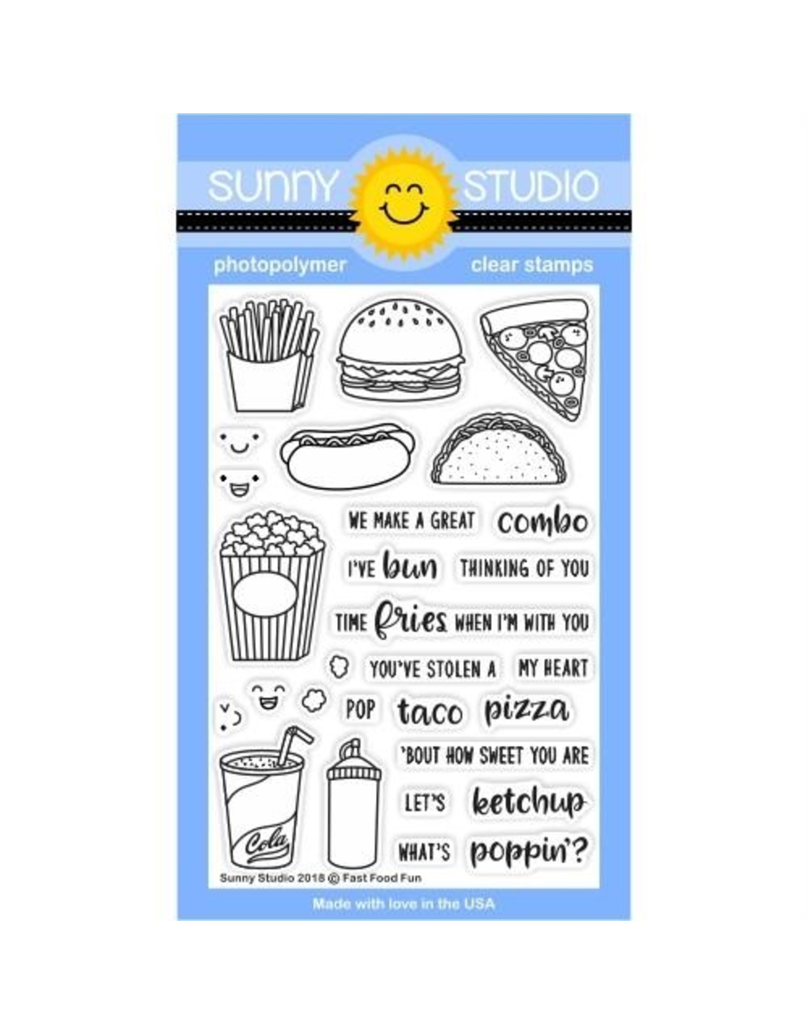 Sunny Studio Fast Food Fun - Clear Stamp Set