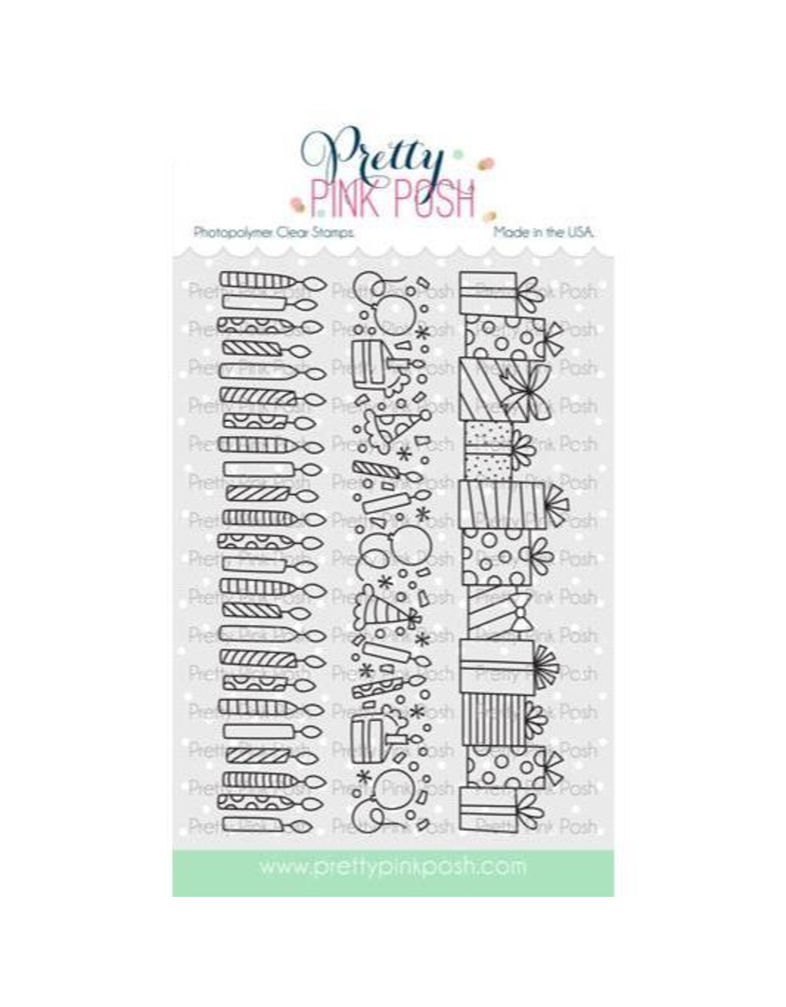 Pretty Pink Posh Birthday Borders - Clear Stamp Set