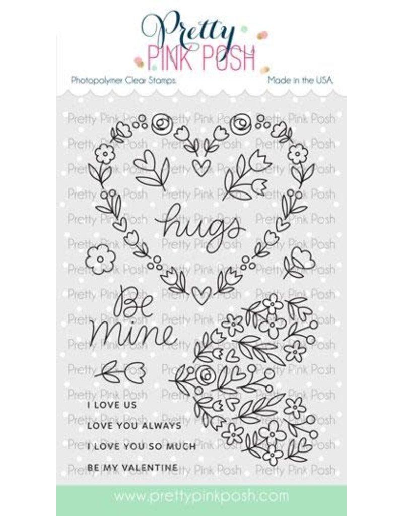 Pretty Pink Posh Lg. Floral Hearts Dies