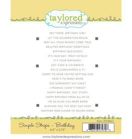 Taylored Expressions Birthday (Simple Strips) - Cling Stamp Set