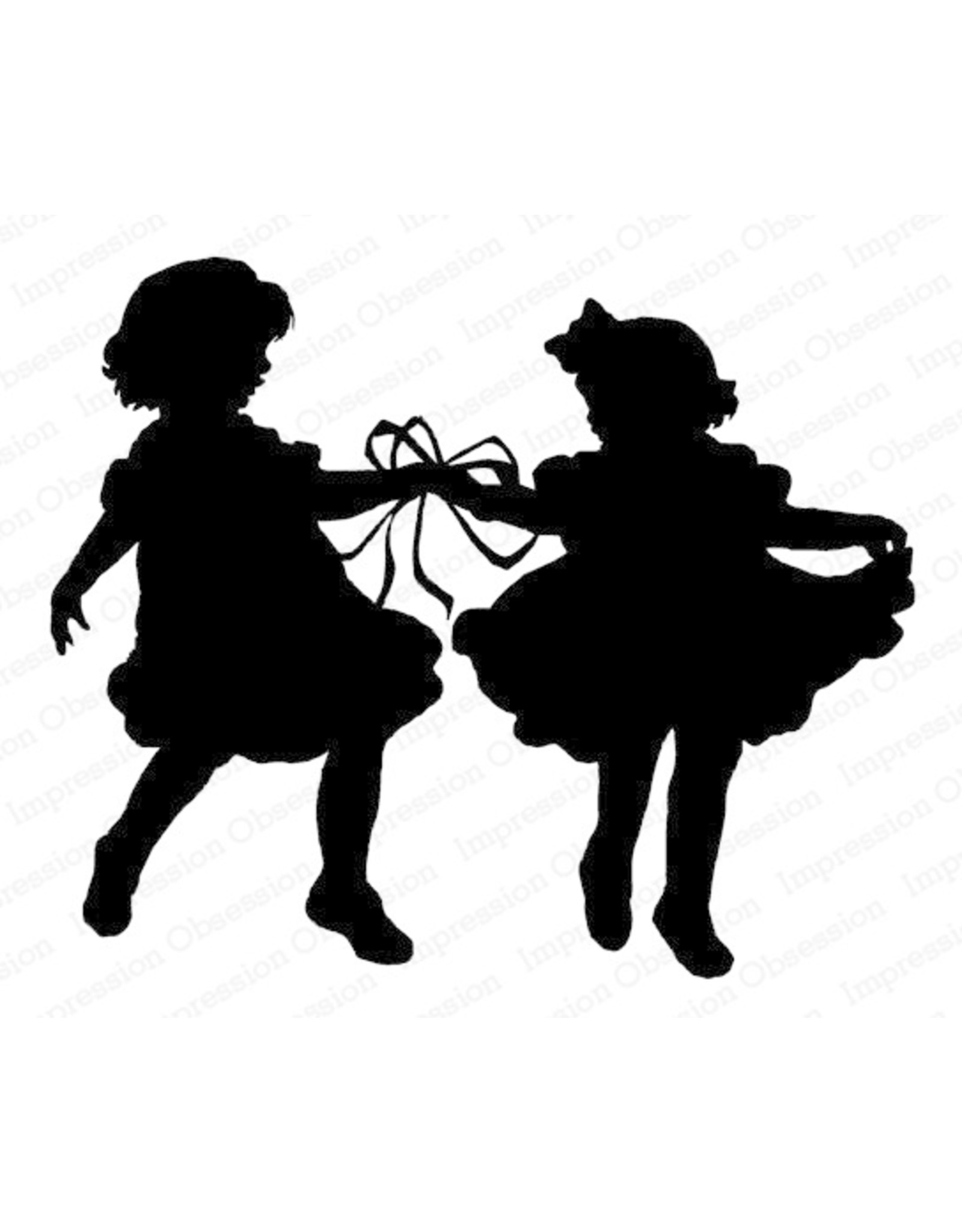 Impression Obsession Ribbon Dance Silhouette - Cling Stamp