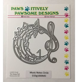 Paws-Itively Pawsome Designs Music Notes Circle - Die