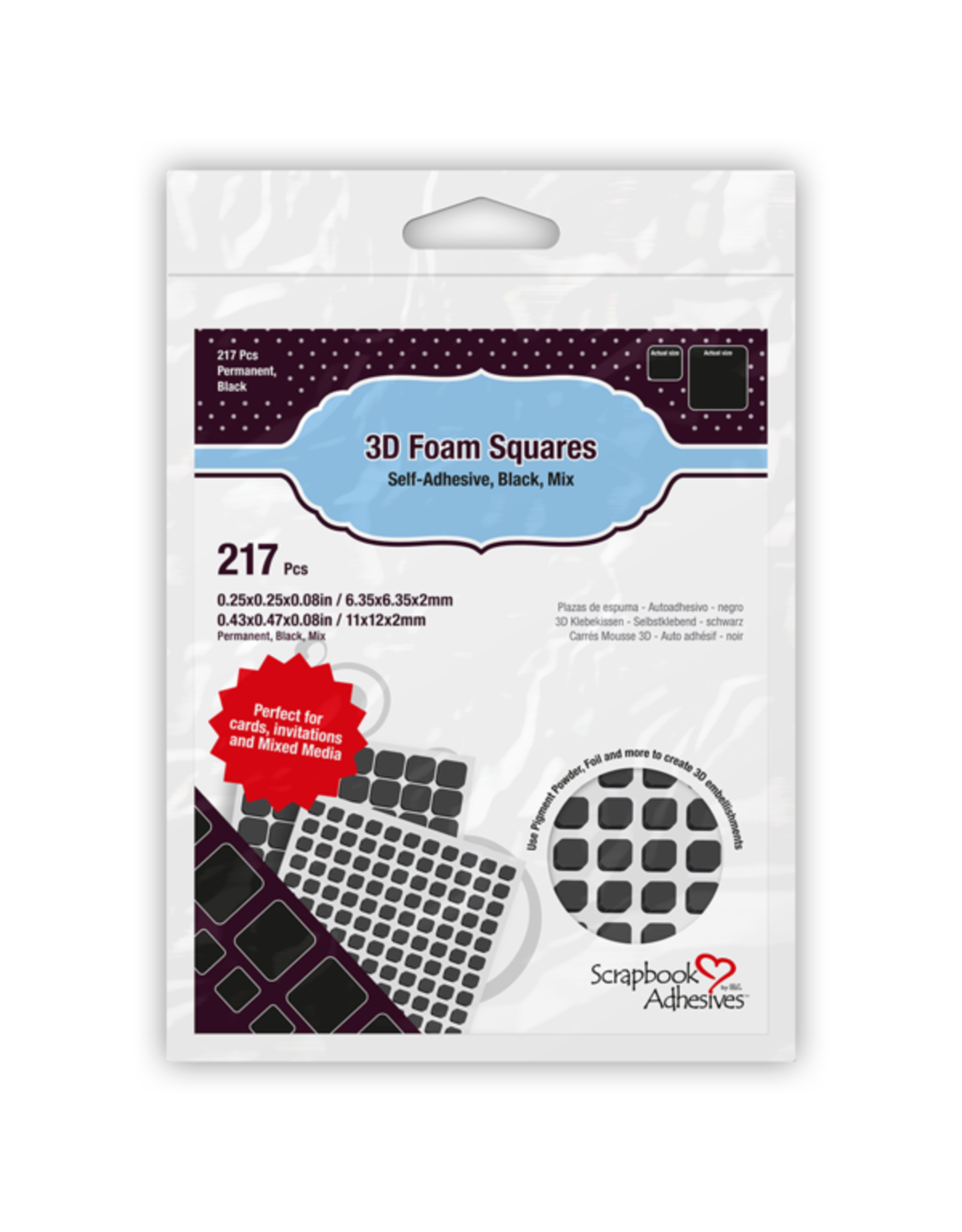 Scrapbook Adhesives 3D Foam Squares Black - Assorted