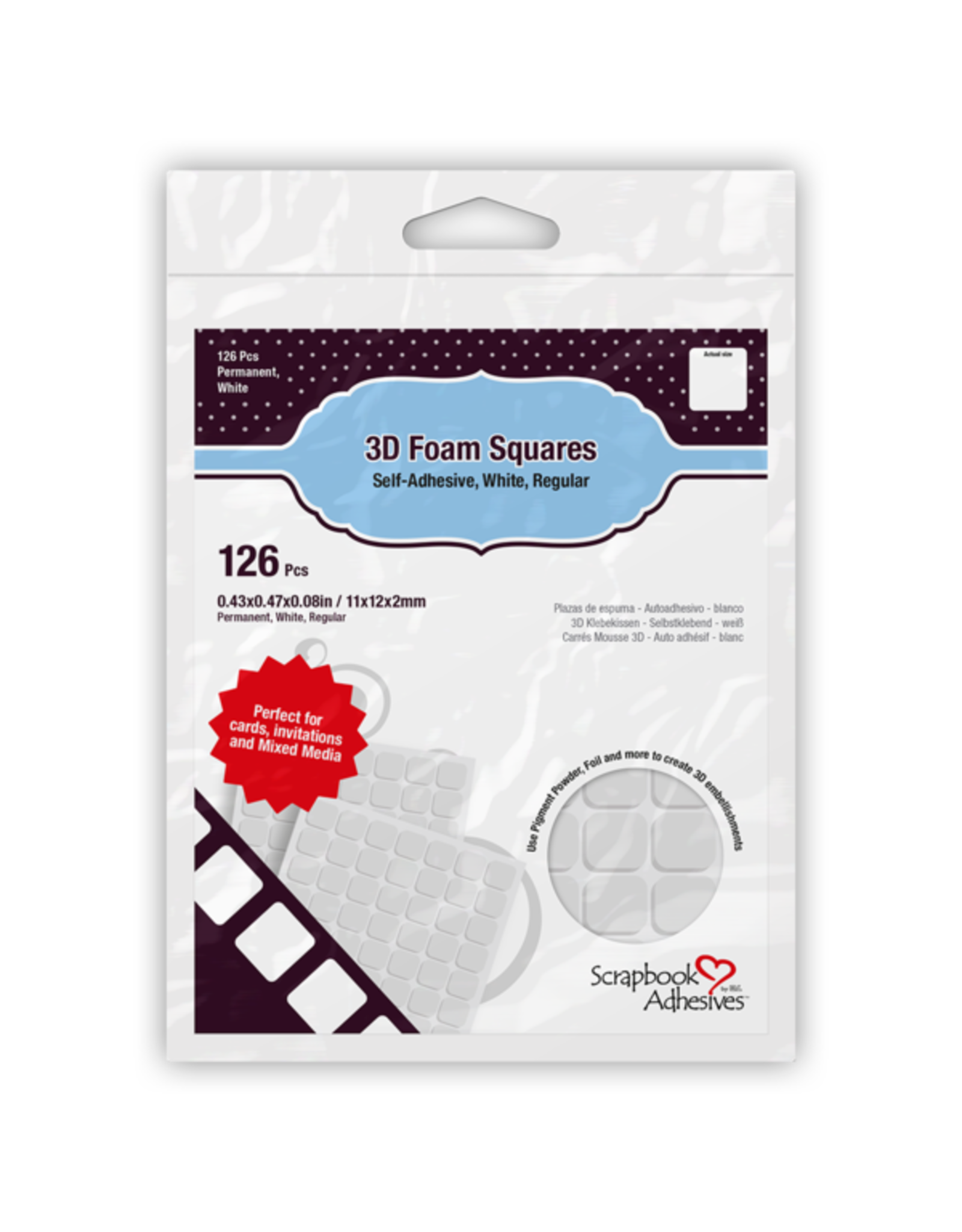 Scrapbook Adhesives 3D Foam Squares White - 1/2 inch