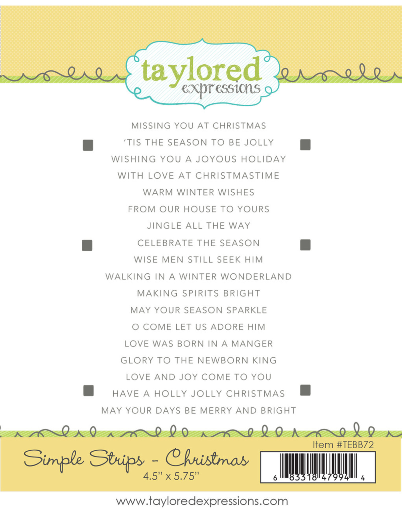 Taylored Expressions Simple Strips (CHRISTMAS) - Cling Stamp Set