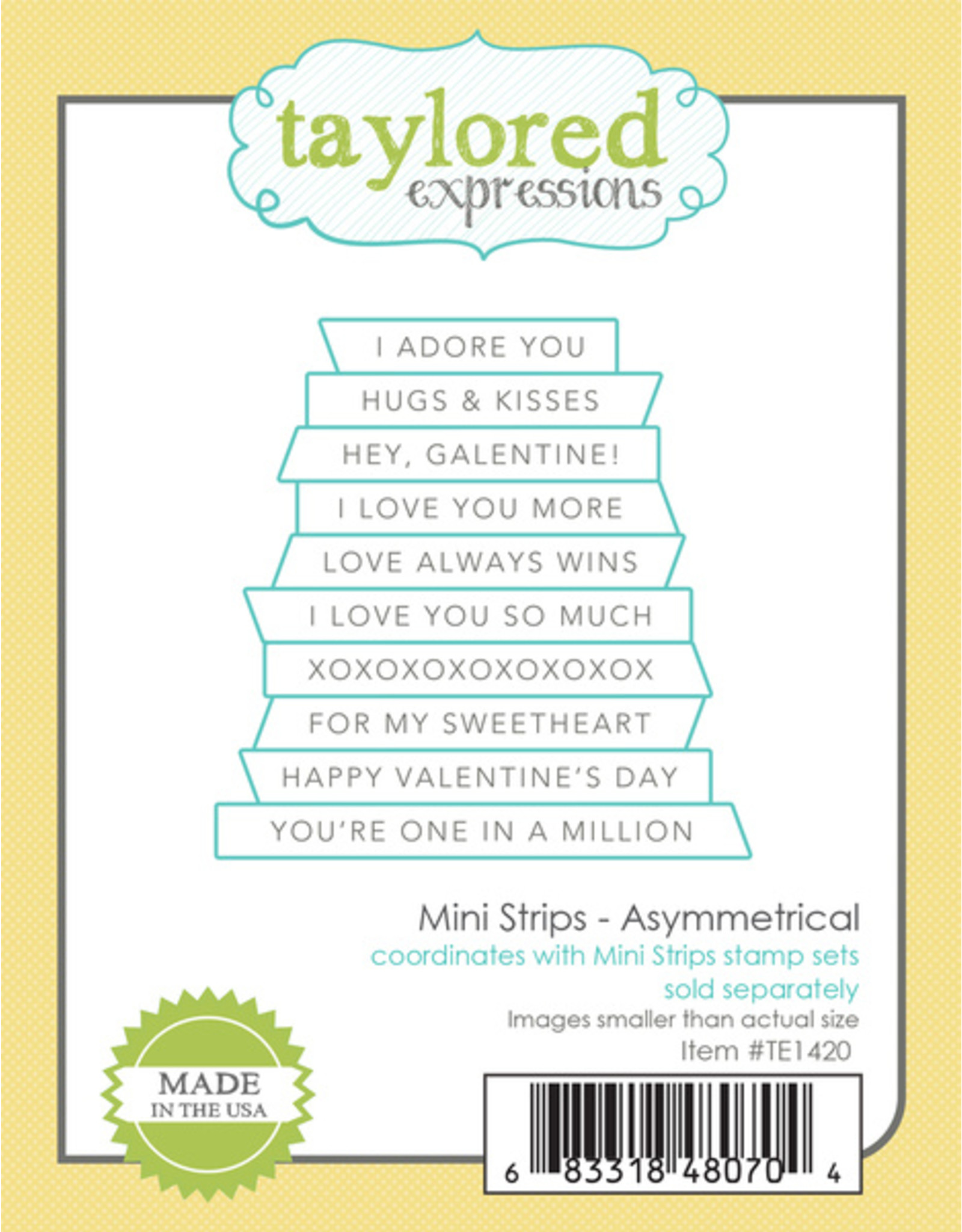 Taylored Expressions Mini Strips (Valentine) - Cling Stamp Set