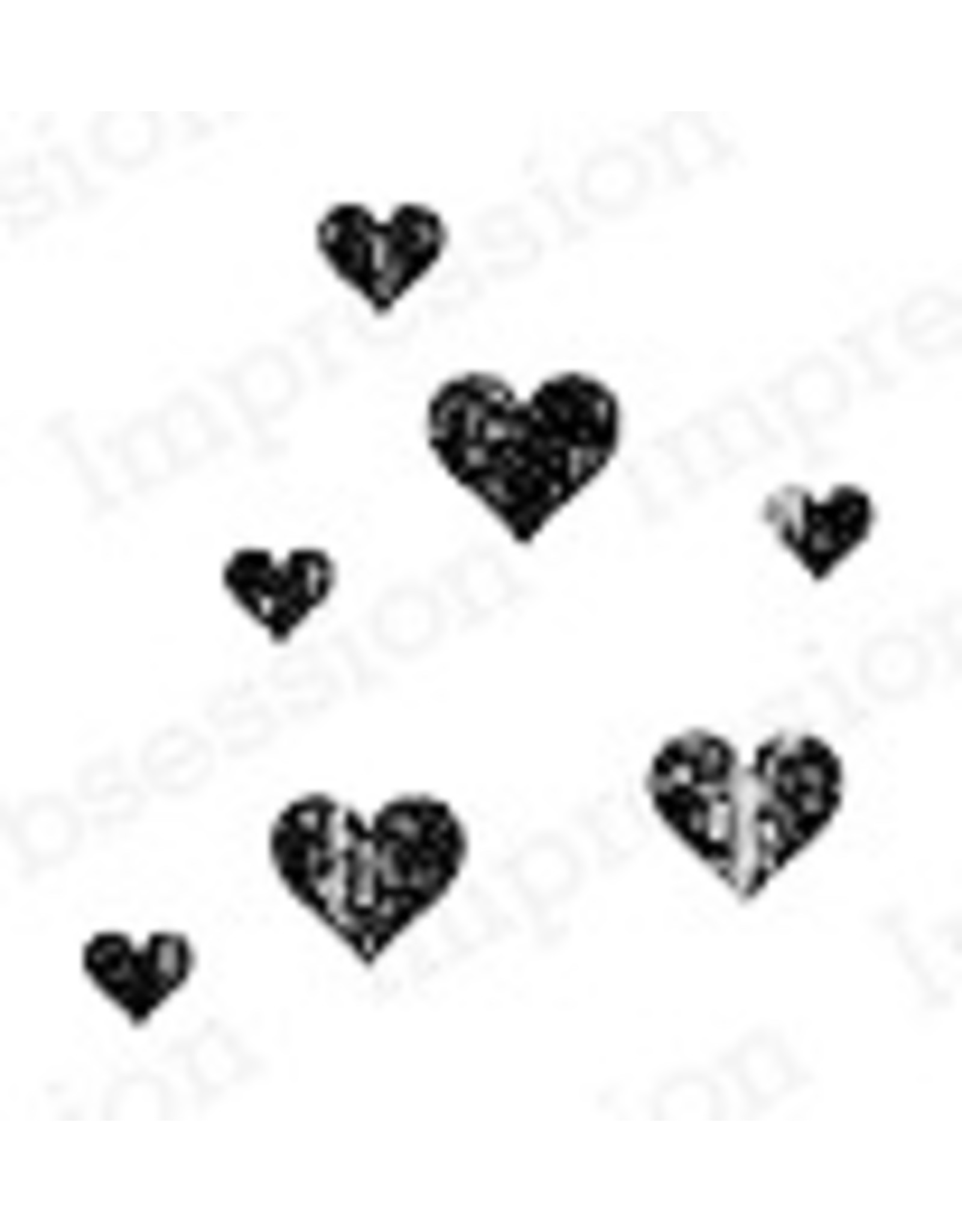 Impression Obsession Grunge Hearts - Cling Stamp