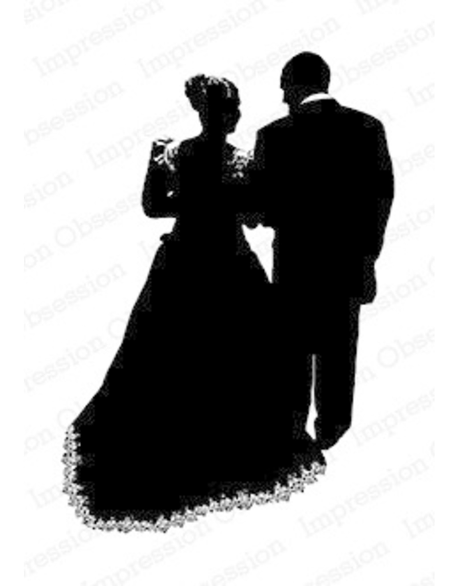 Impression Obsession Wedding Silhouette - Cling Stamp