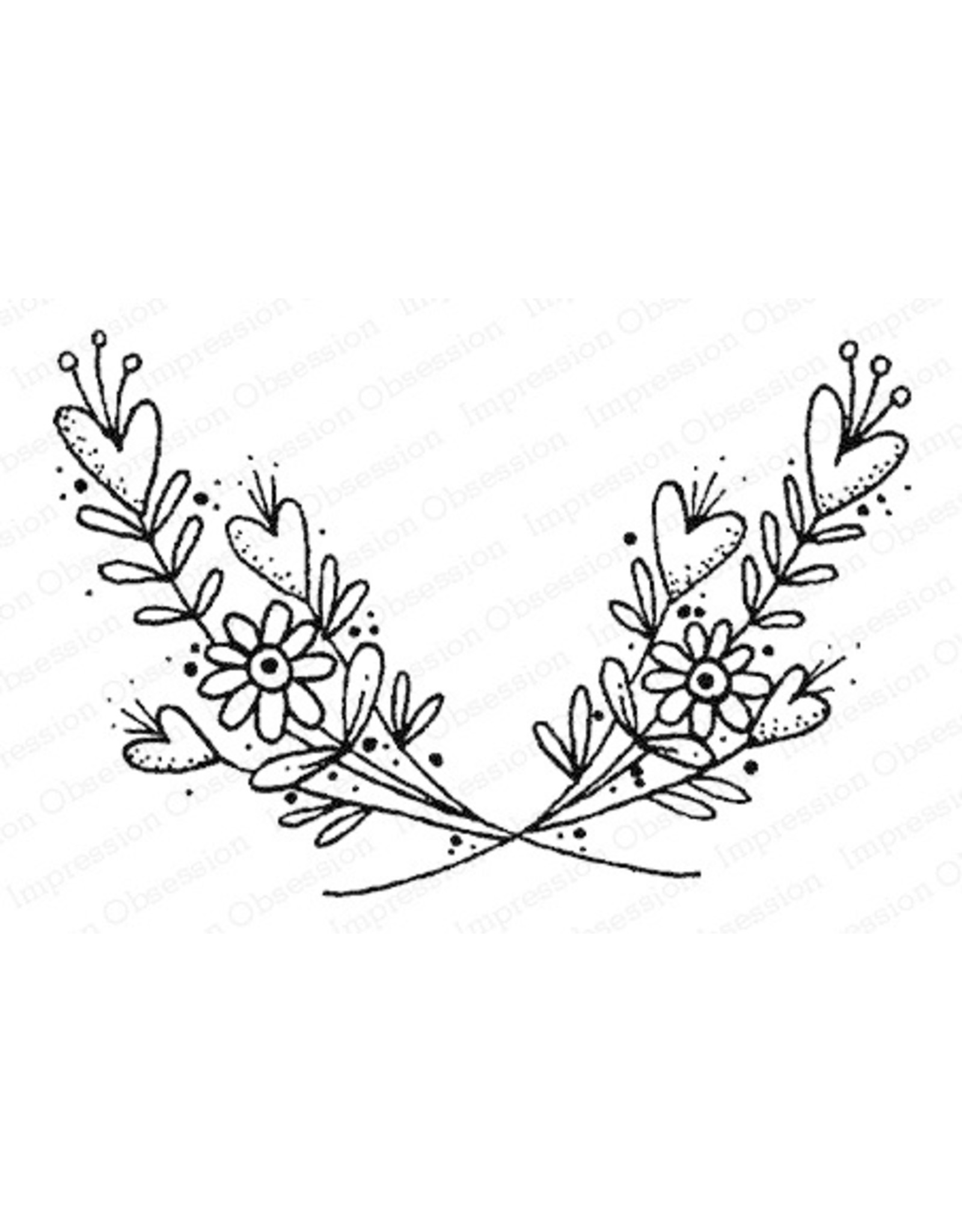 Impression Obsession Floral Swag - Cling Stamp