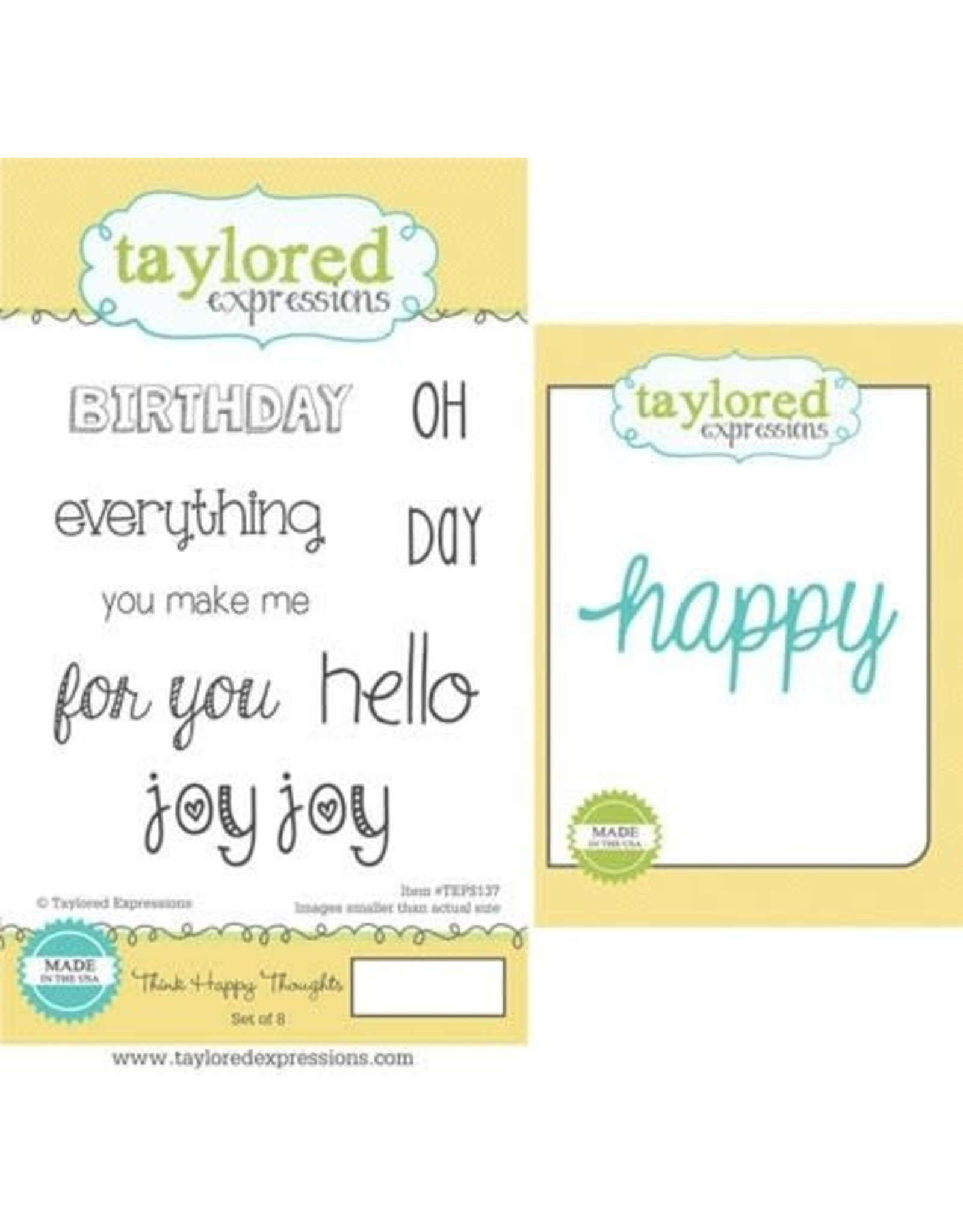 Taylored Expressions Think Happy Thoughts Stamp/Die Combo (RETIRED) (25%)