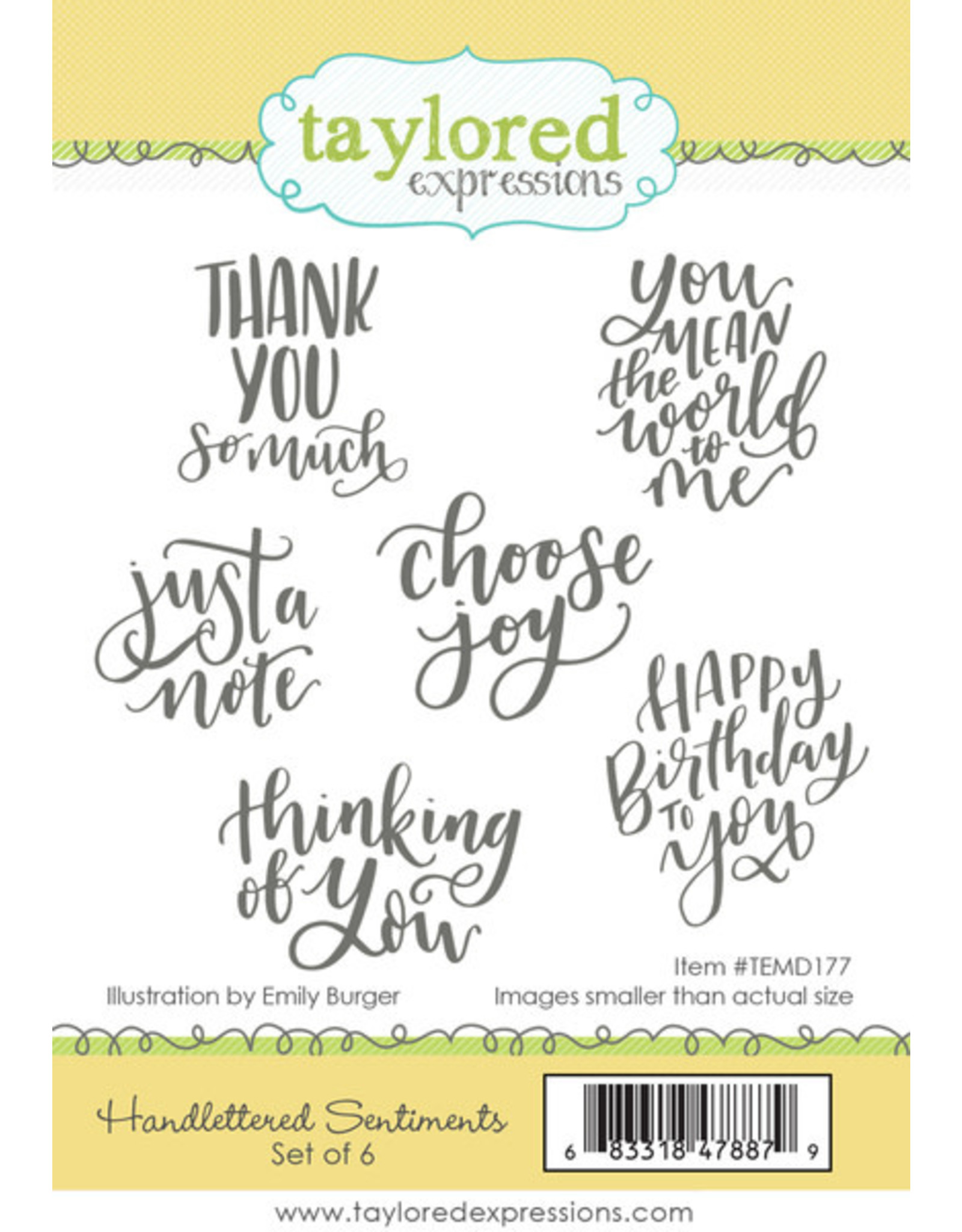 Taylored Expressions Handlettered Sentiments - Cling Stamp Set