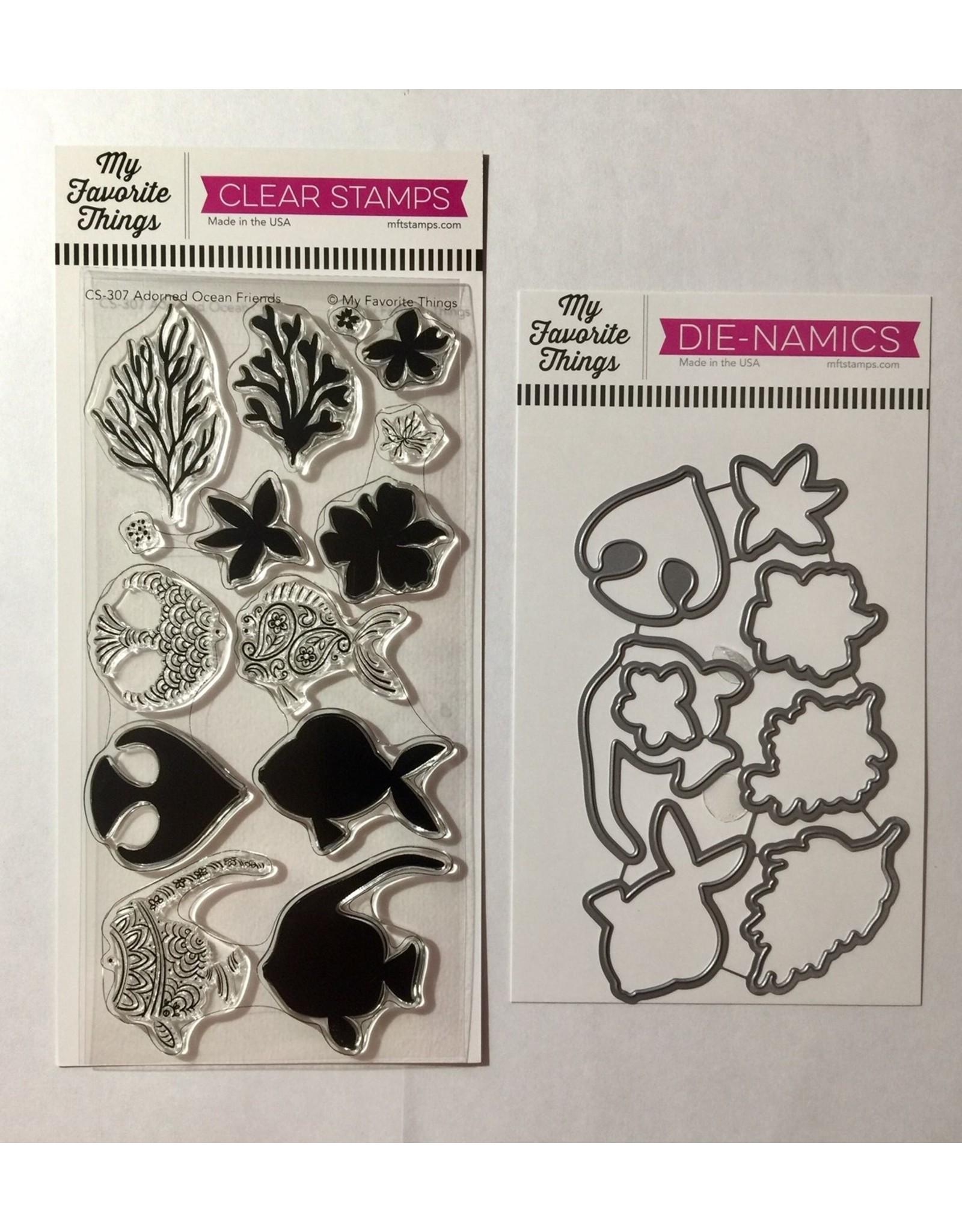 My Favorite Things Adorned Ocean Friends  Clear Stamp Set & Die Bundle (RETIRED) (30%)