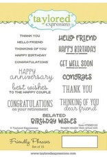 Taylored Expressions Friendly Phrases - Cling Stamp Set