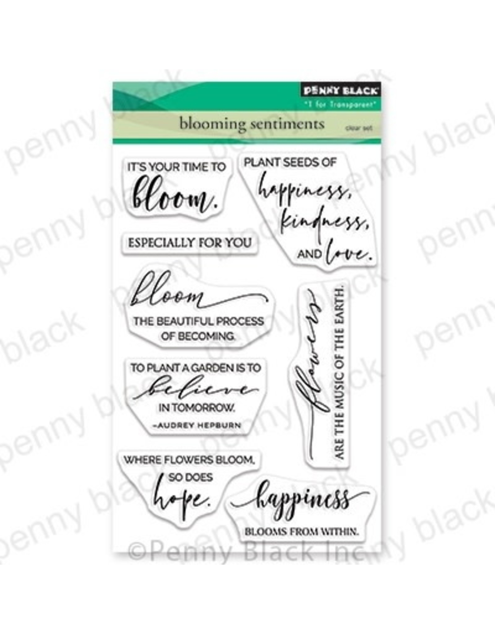 Penny Black Blooming Sentiments - Clear Stamp Set