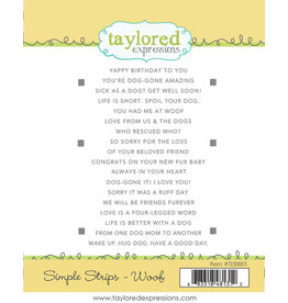 Taylored Expressions Simple Strips - Woof Cling Stamp