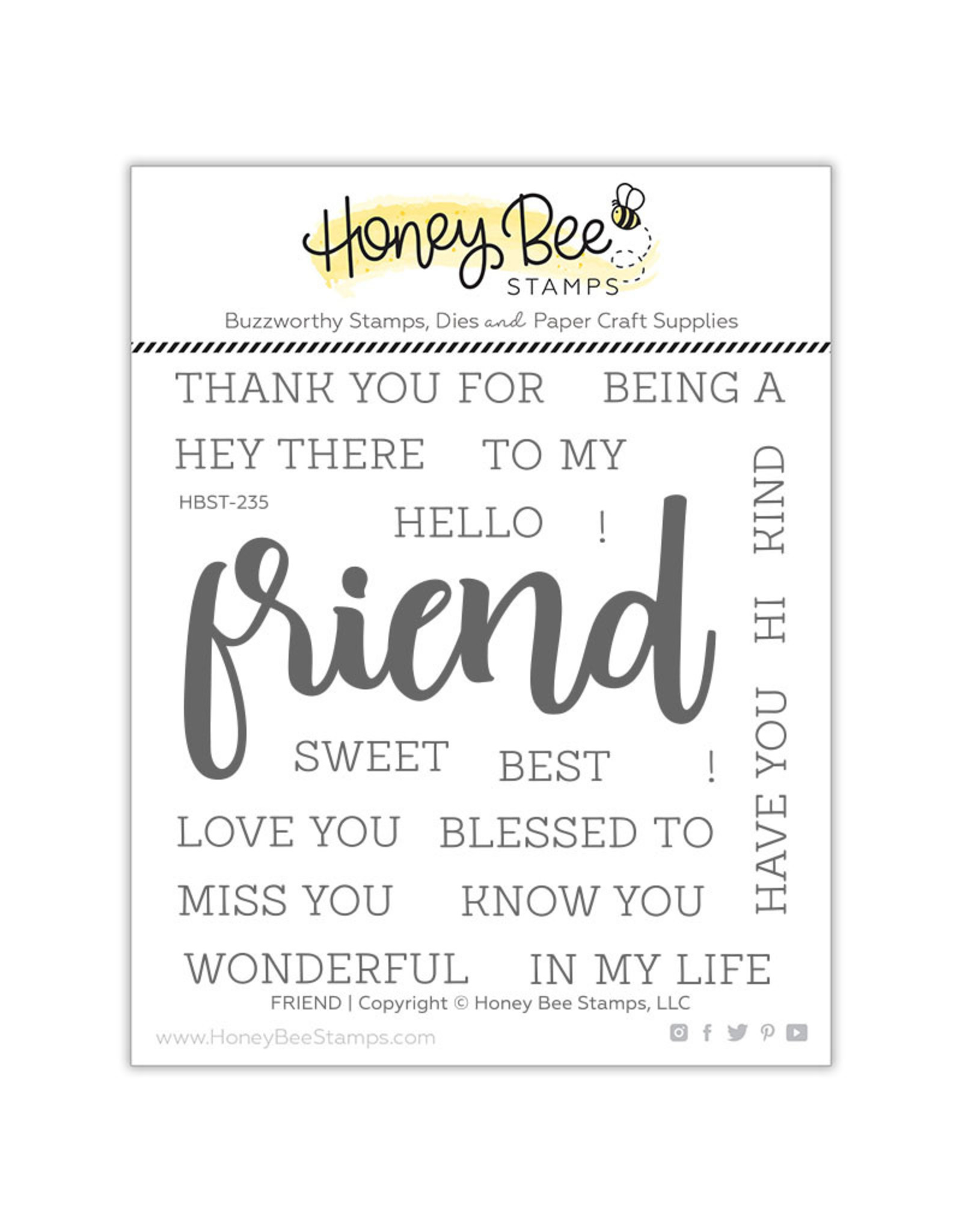 Honey Bee Stamps Friend - Clear Stamp Set
