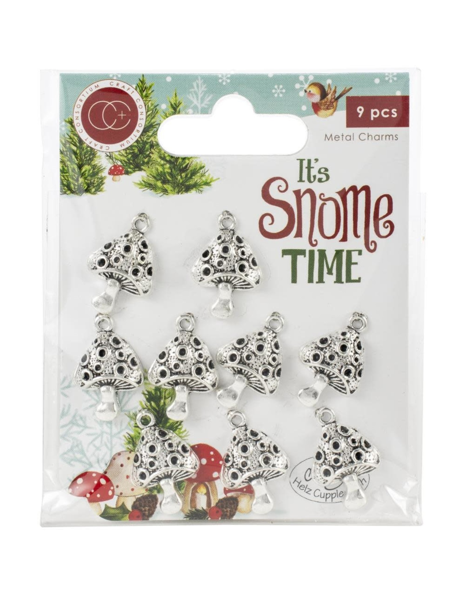 Craft Consortium It's Snome Time Toad Stools Metal Charms