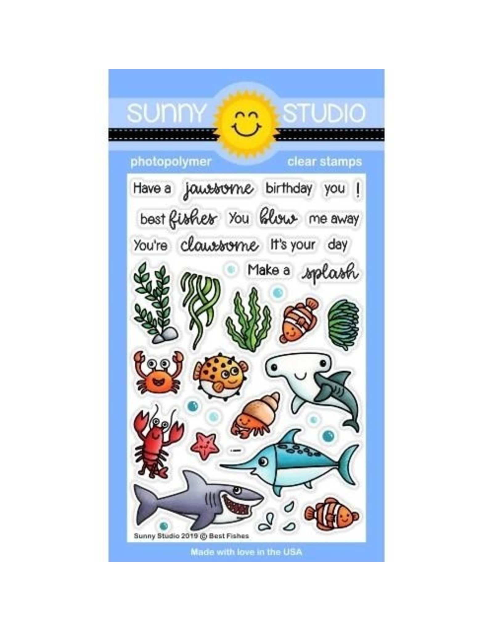 Sunny Studio Best Fishes - Clear Stamps Set (SS)