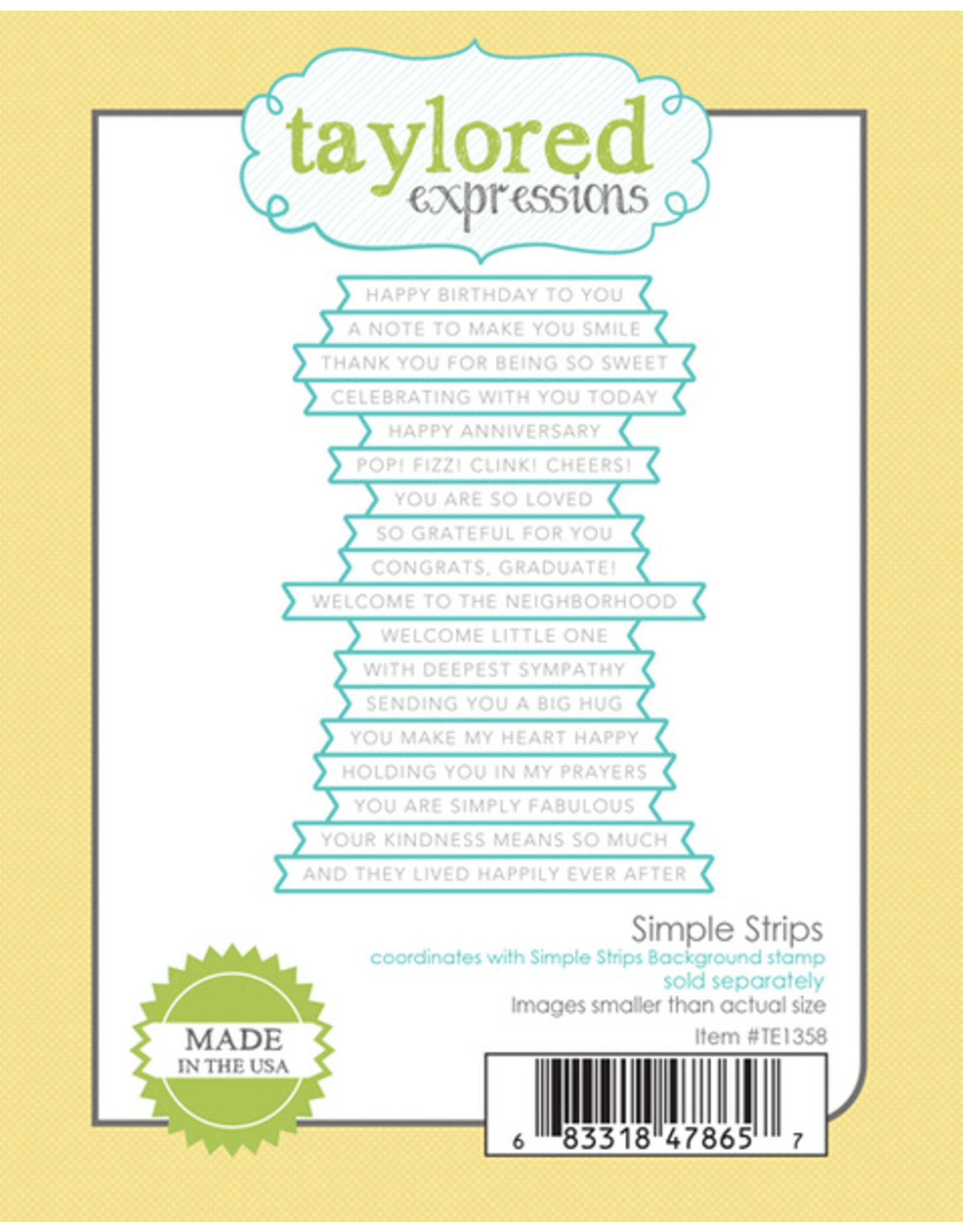 Taylored Expressions Simple Strips (WOOF) - Cling Stamp Set