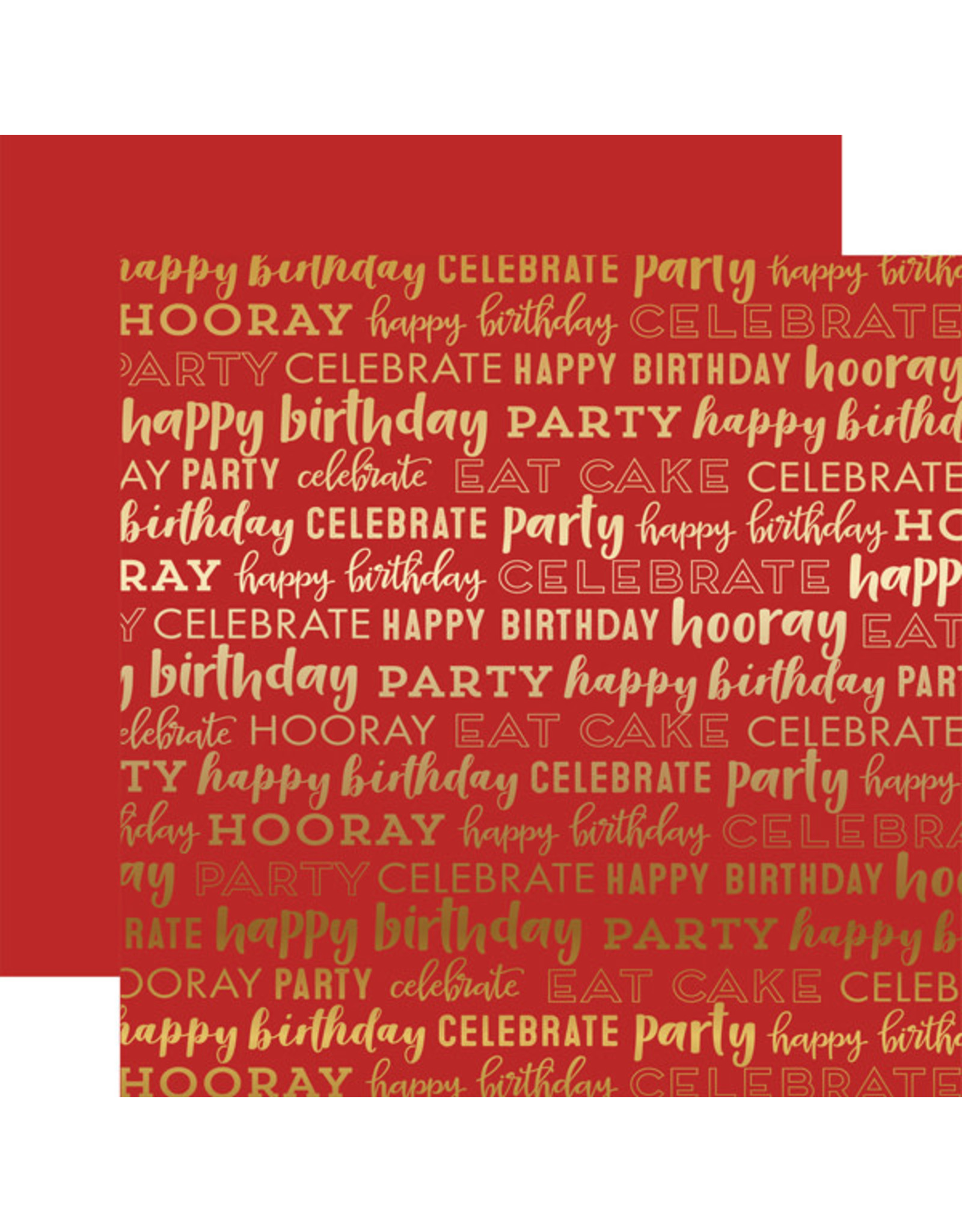 Carta Bella Paper Company, LLC Happy Birthday Red Foil 12x12
