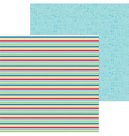 Doodlebug Design Inc. Bar-B-Cute Collection - Sno Cone Stripe 12x12