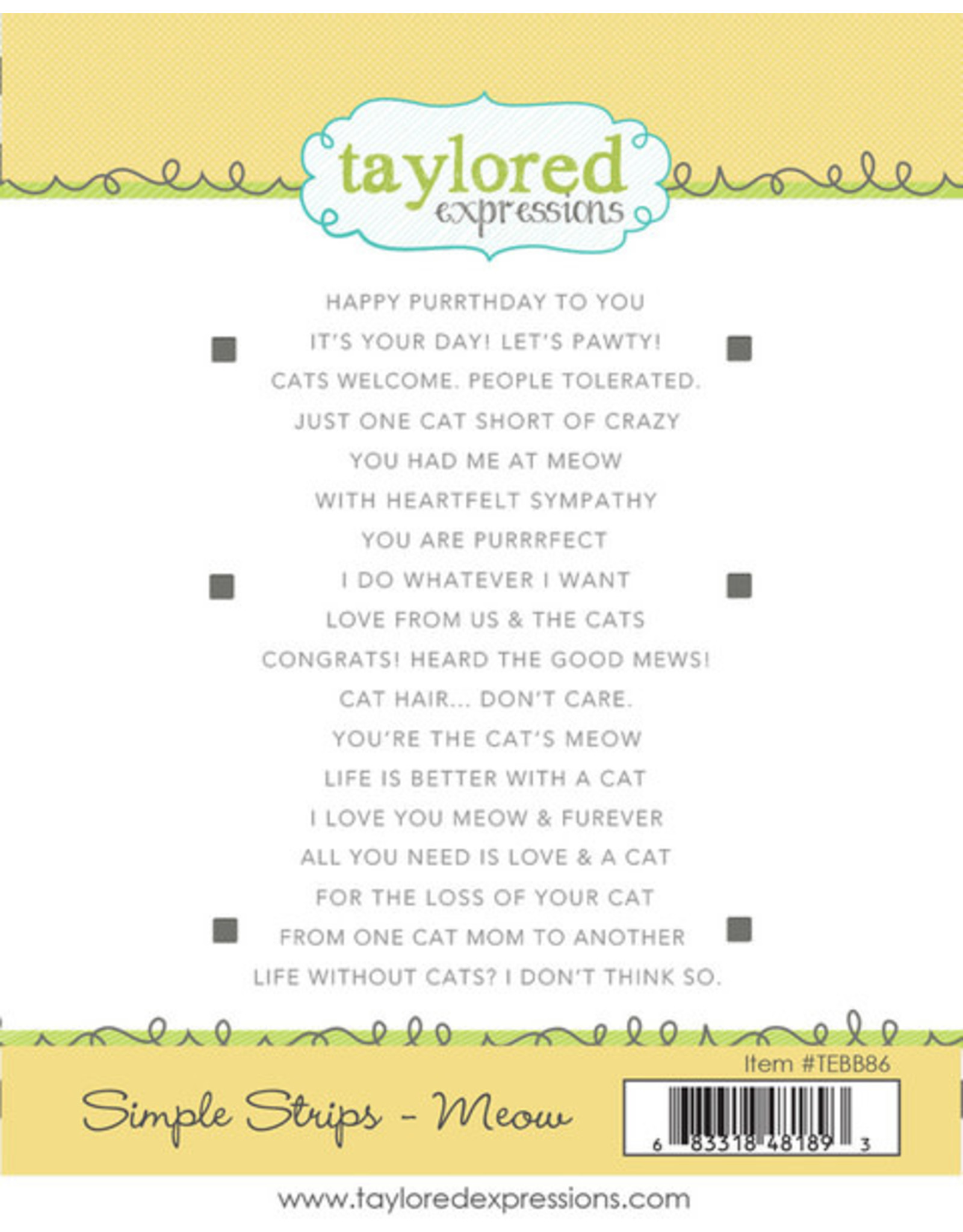 Taylored Expressions Simple Strips (MEOW) - Cling Stamp Set