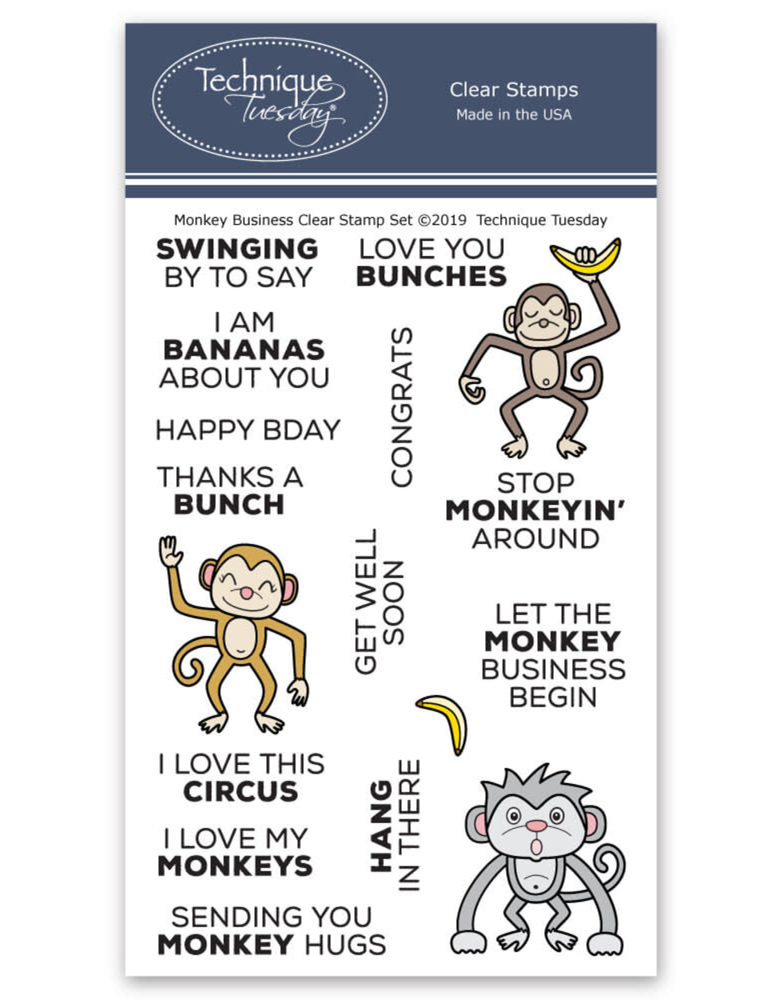 Technique Tuesday Monkey Business Clear Stamp Set