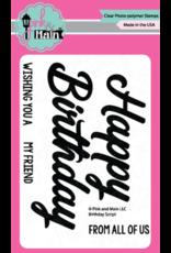 Pink and Main Happy Birthday - Layered Die