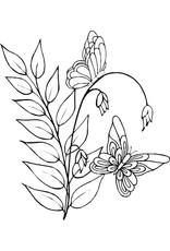 DRS Designs Leaf Butterfly Spray Cling Stamp