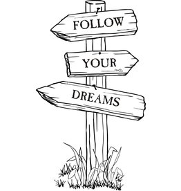 DRS Designs Follow Your Dreams Sign Post Cling Stamp