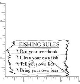 DRS Designs Fishing Rules Cling Stamp