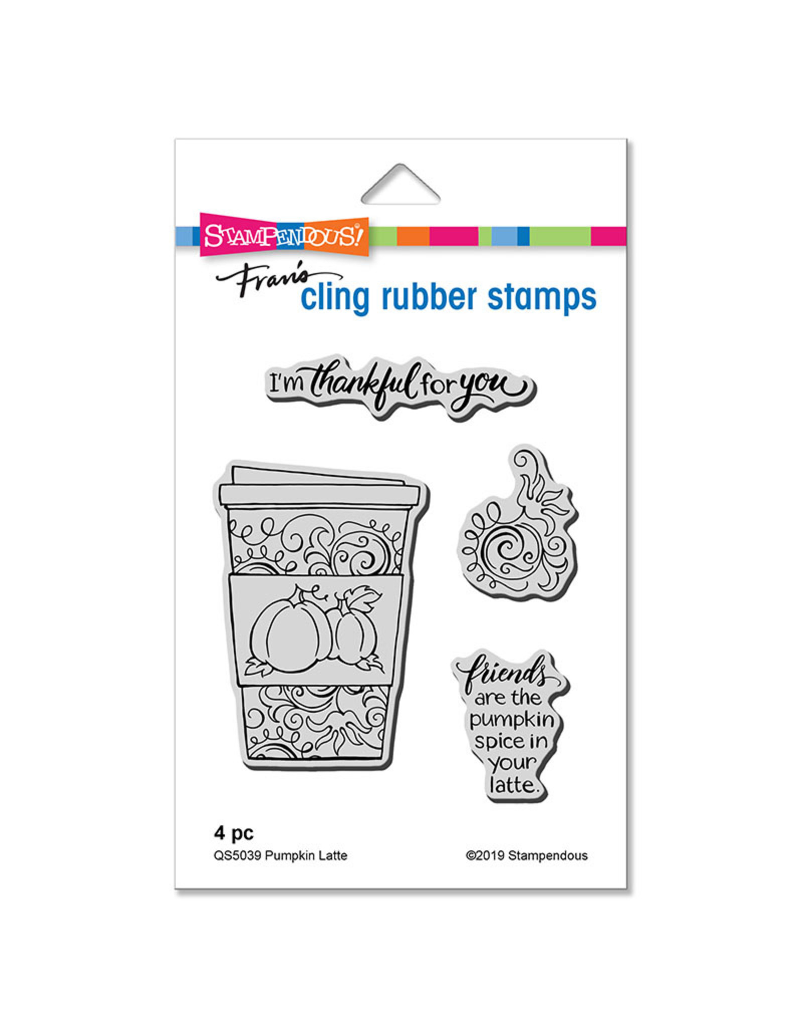 Stampendous Pumpkin Latte Cling Stamp Set