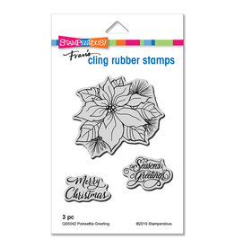 Stampendous Poinsettia Greetings Cling Stamp Set