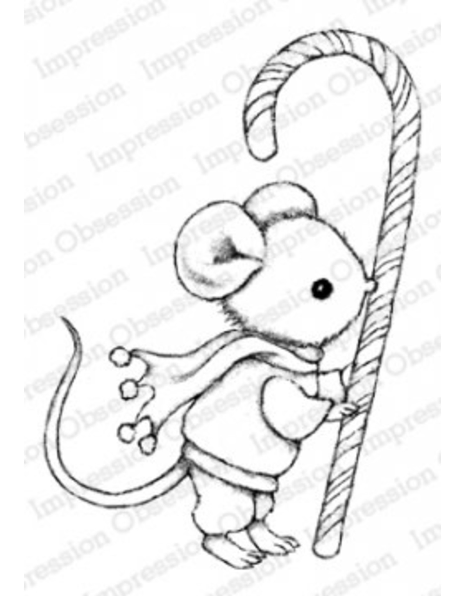 Impression Obsession Candy Cane Mouse Cling Stamp