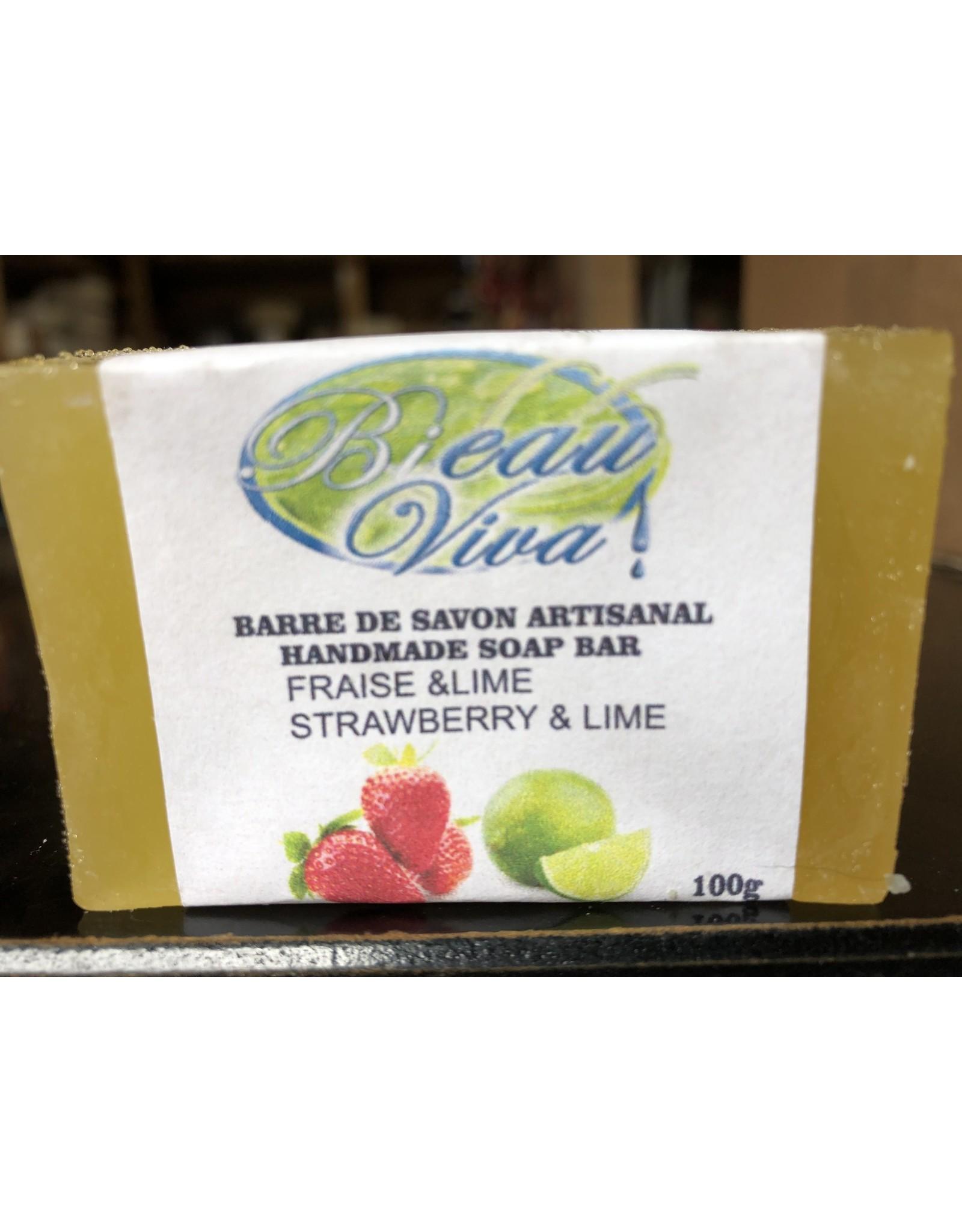 Bieau Viva savon en barre, Glycérine, Fraise et lime, 100 g