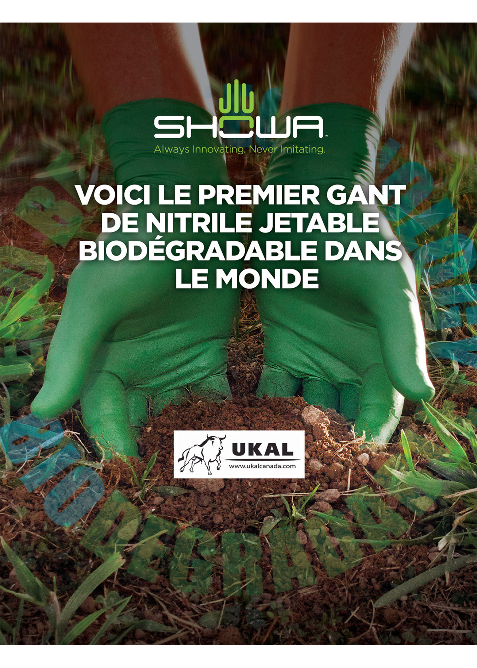 Showa Gants Biodégradables verts 4 mil Xlarge