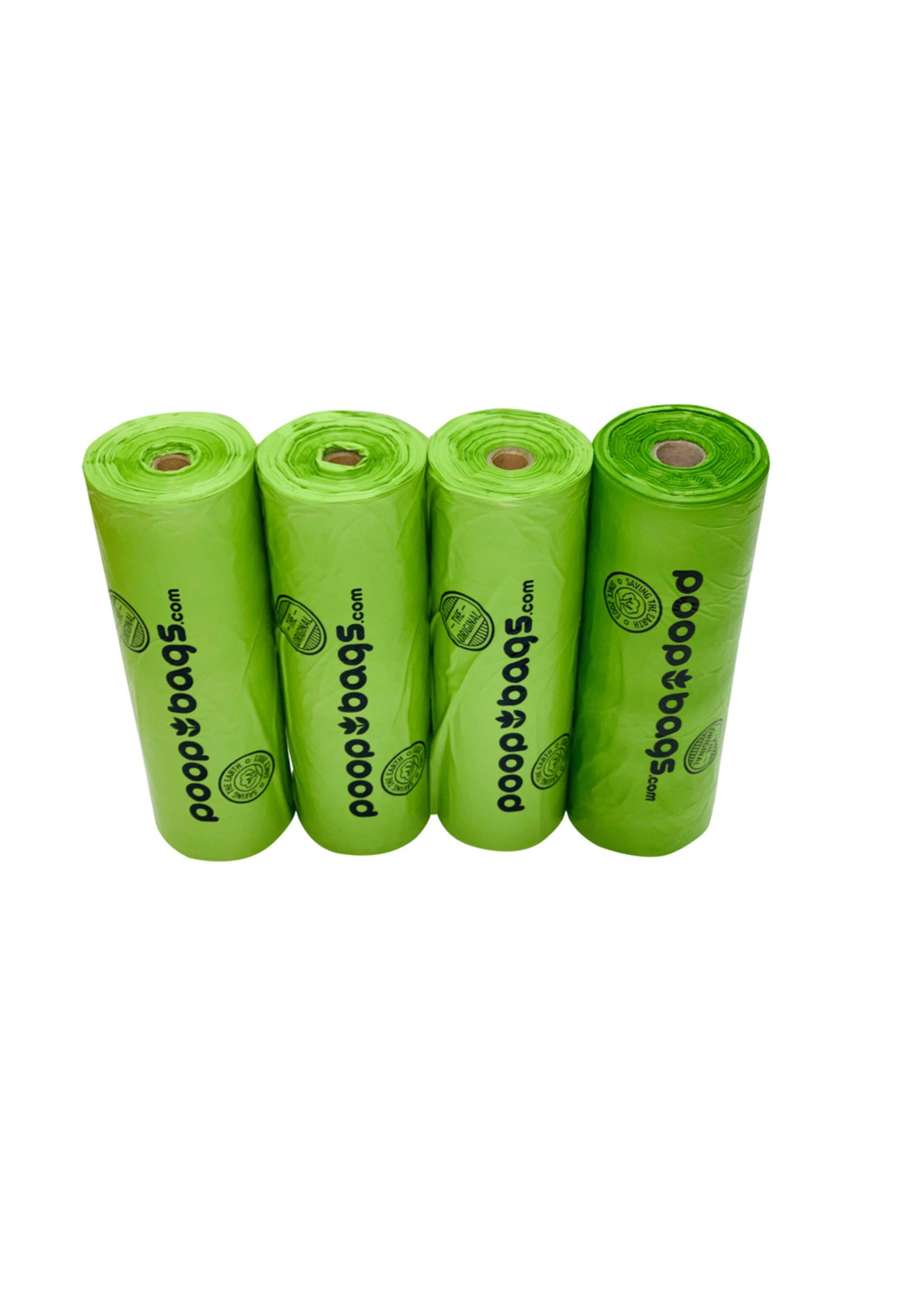 Poop Bags POOPBAGS sacs de ramassage compostables (4 rouleaux de 15 sacs) 9''x13''