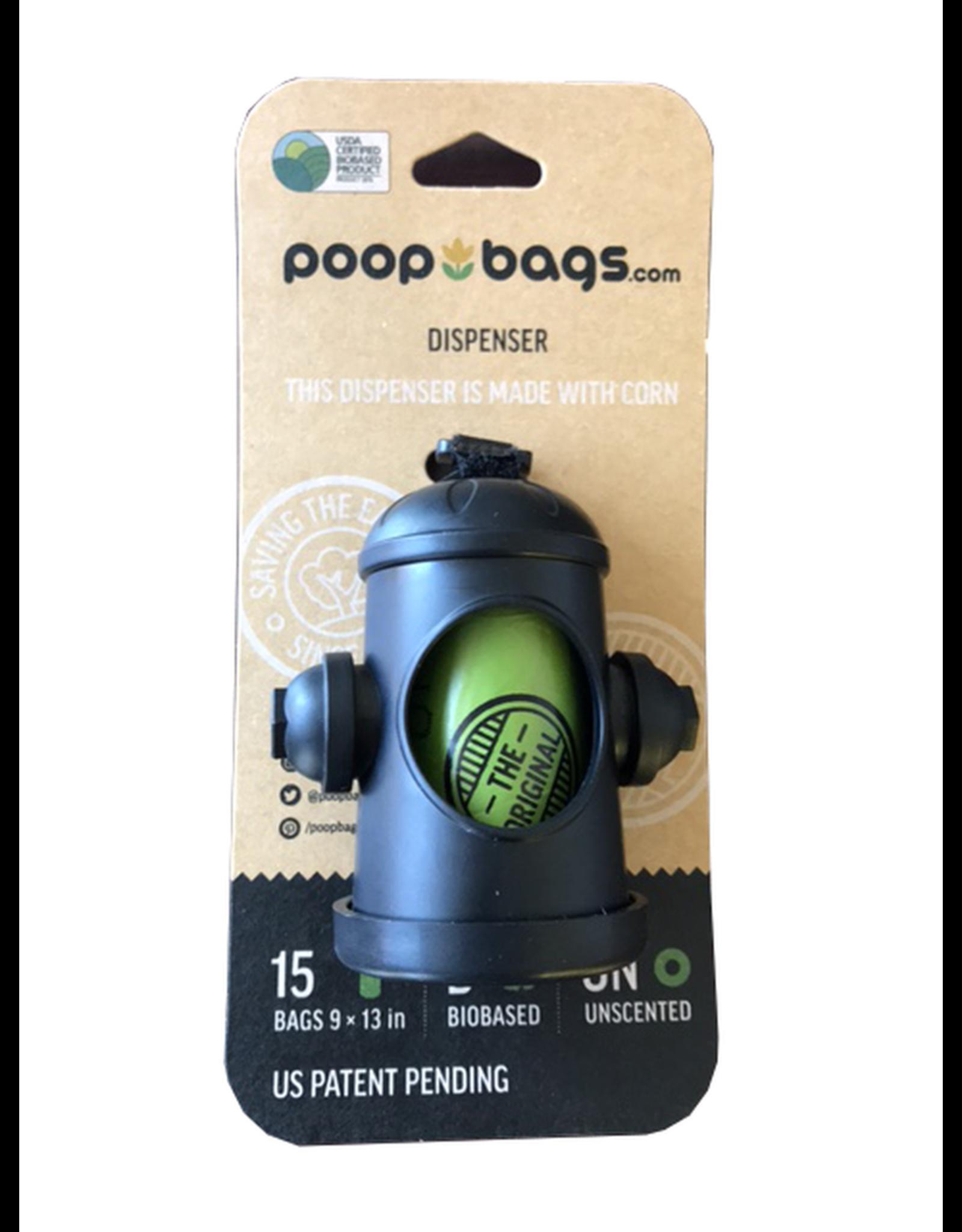 Poop Bags POOPBAGS distributeur et sacs de ramassage a base de plante (1 rouleau de 15 sacs) 9''x13''