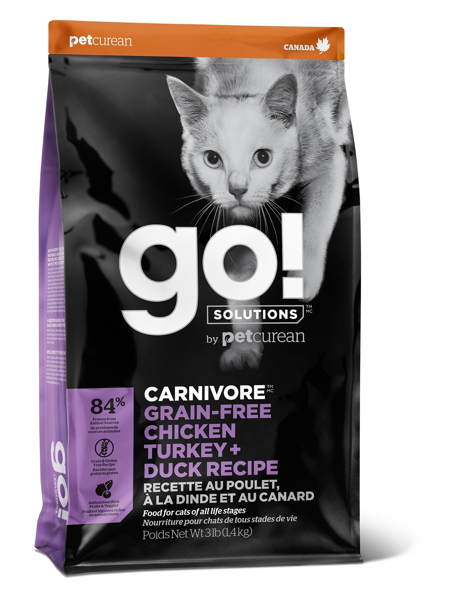 Pet curean PETCUREAN GO! chat carnivore sans grains poulet, dinde + canard 8 lbs