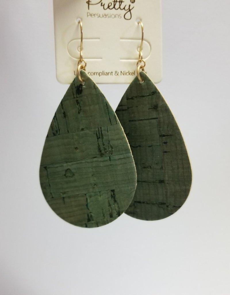 Earrings/Olive Green Cork Teardrop