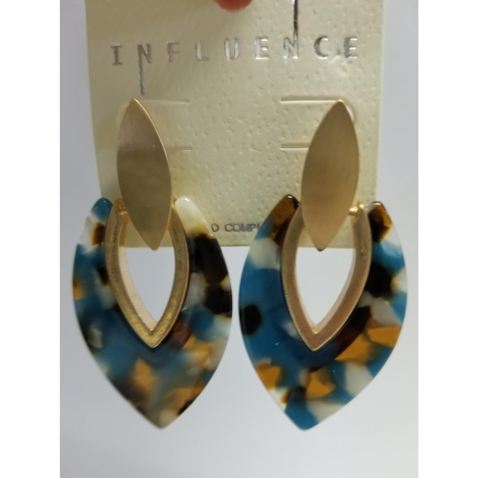 Earrings/TealRustMultiAcetate w/GoldCenter