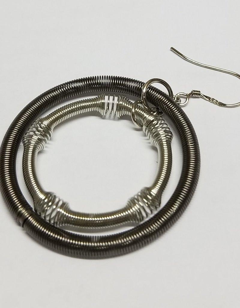 Sea Lily Earrings/LrgSilvSlatePianoWrDoubleLoopsOnHook