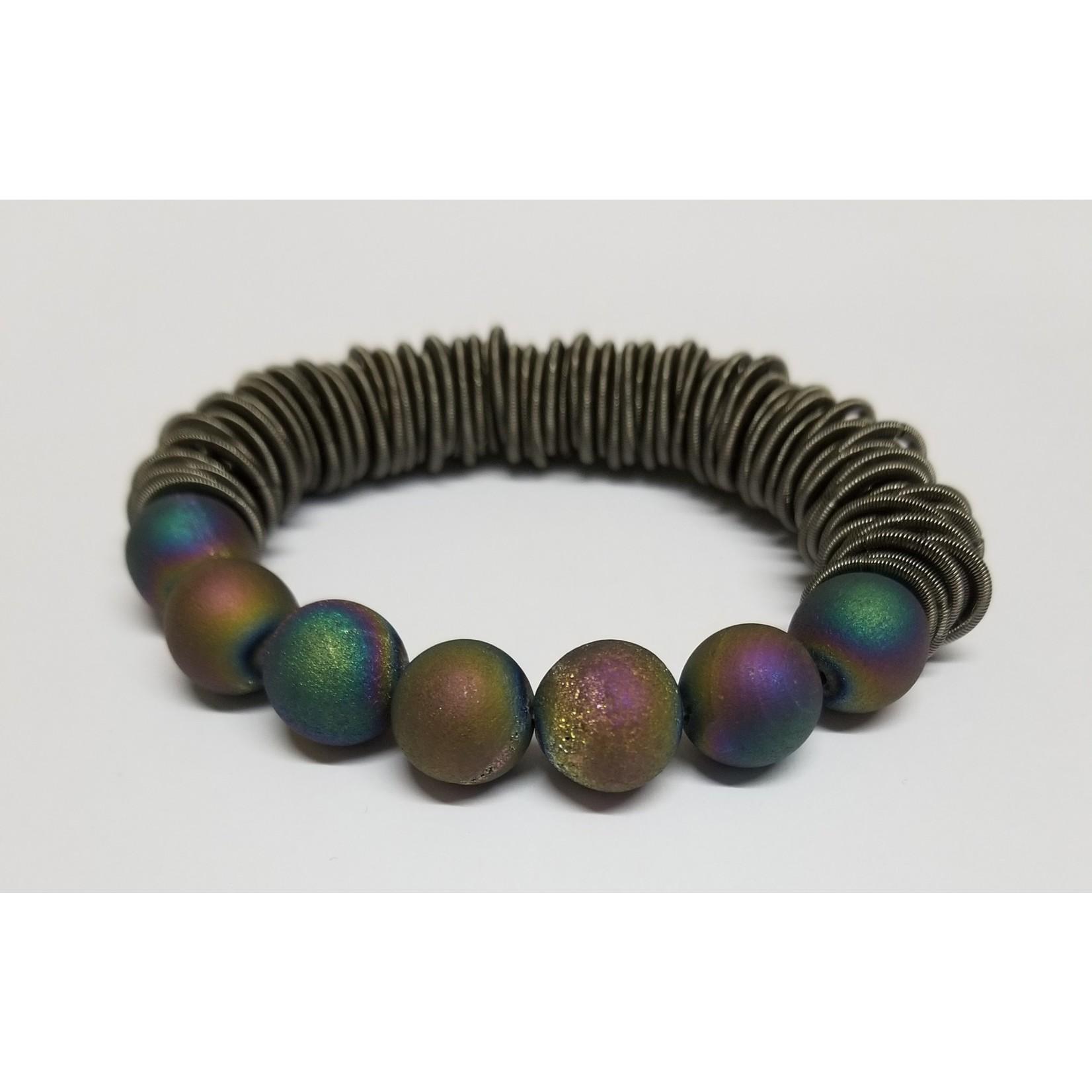 Sea Lily Bracelet/SlateSpringRing w/Irri Geodes