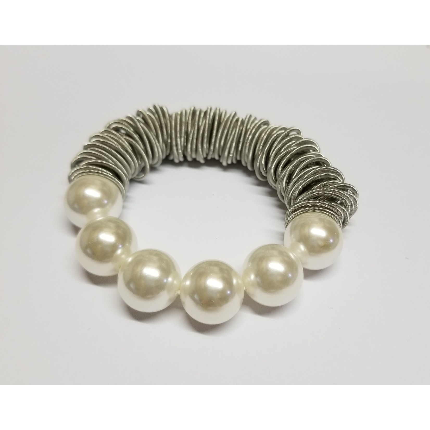 Sea Lily Silver Spring Ring Bracelet w/ Mother of Pearls