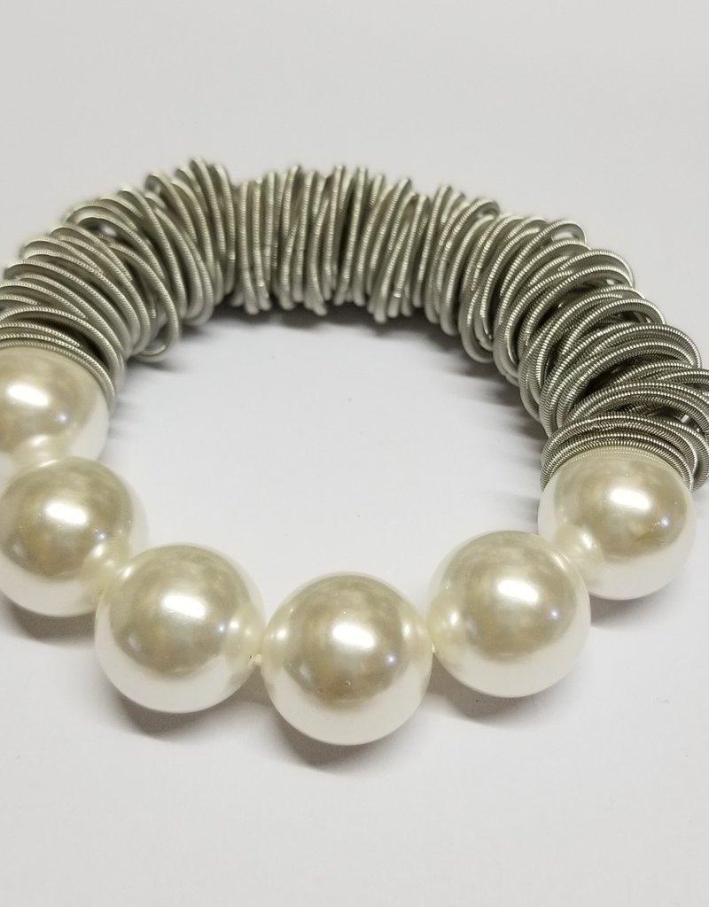 Sea Lily Bracelet/SilverPianoWrSpringRing w/PearlBeads