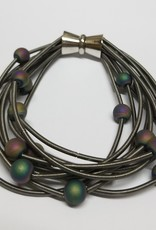 Sea Lily 10 Layer Slate Bracelet w/ Iridescent Geodes