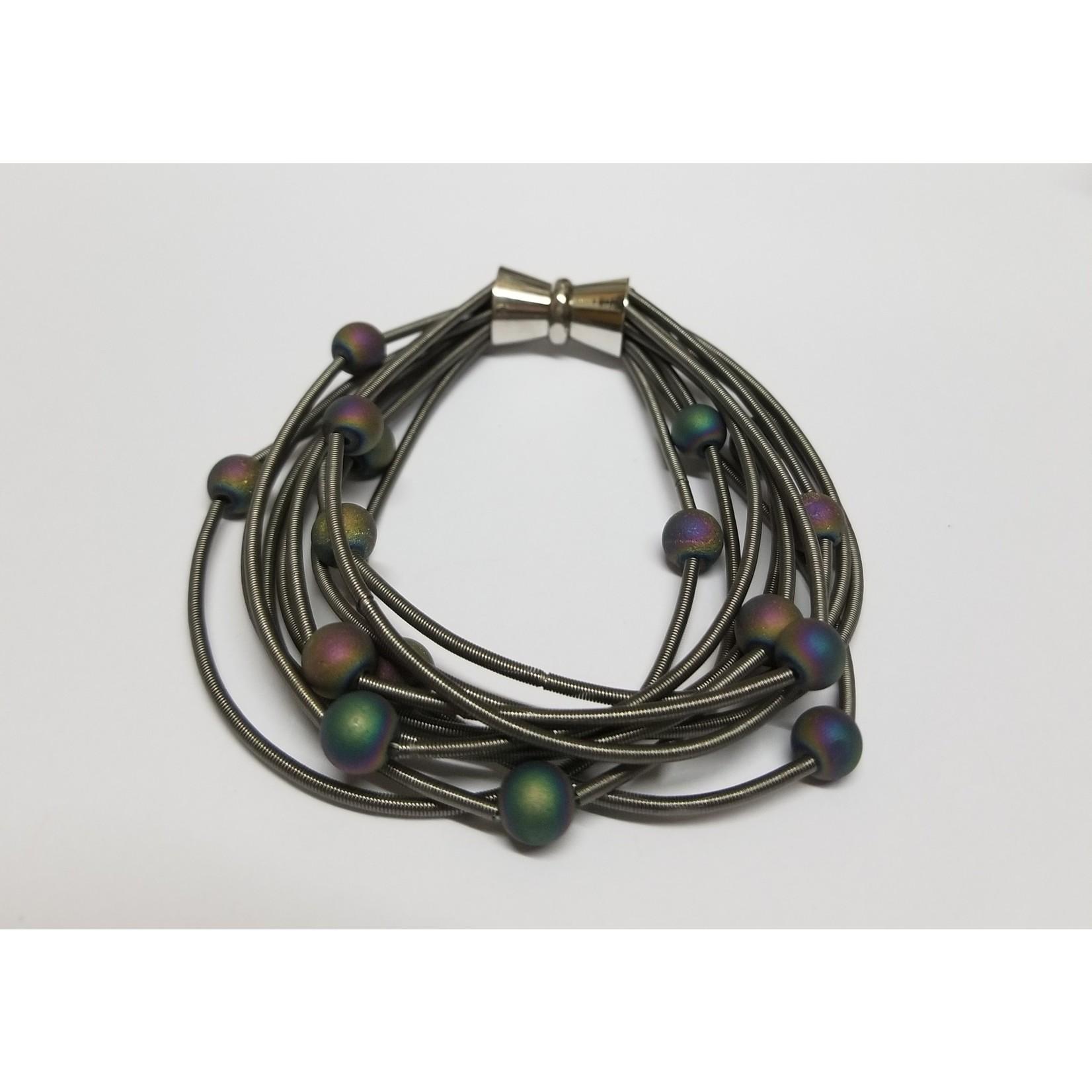 Sea Lily Slate PW 10 Layer Bracelet w/ Iridescent Geodes