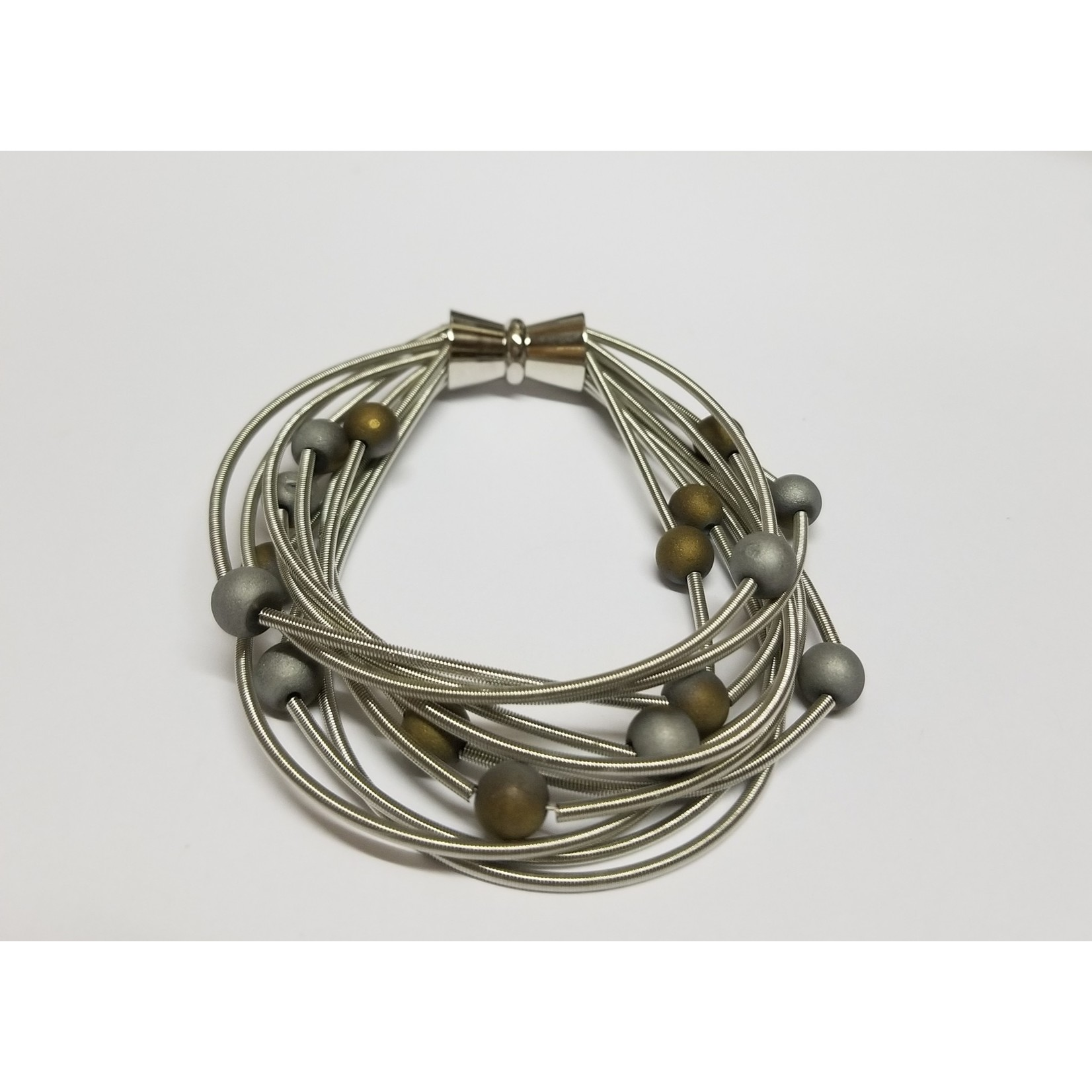 Sea Lily Silver PW 10 Layer Bracelet w/ Silver/Gold Geodes