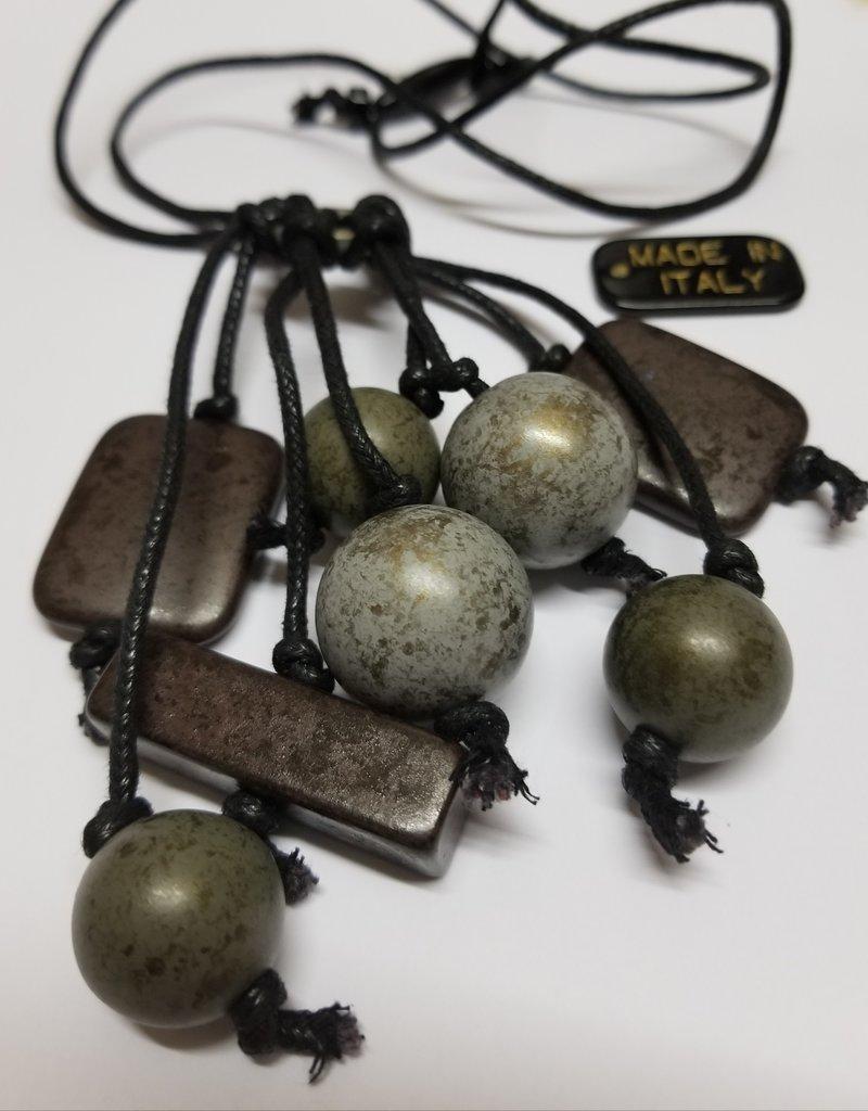 Necklace/ArmyGoldBeadsOnRing/BlkRope