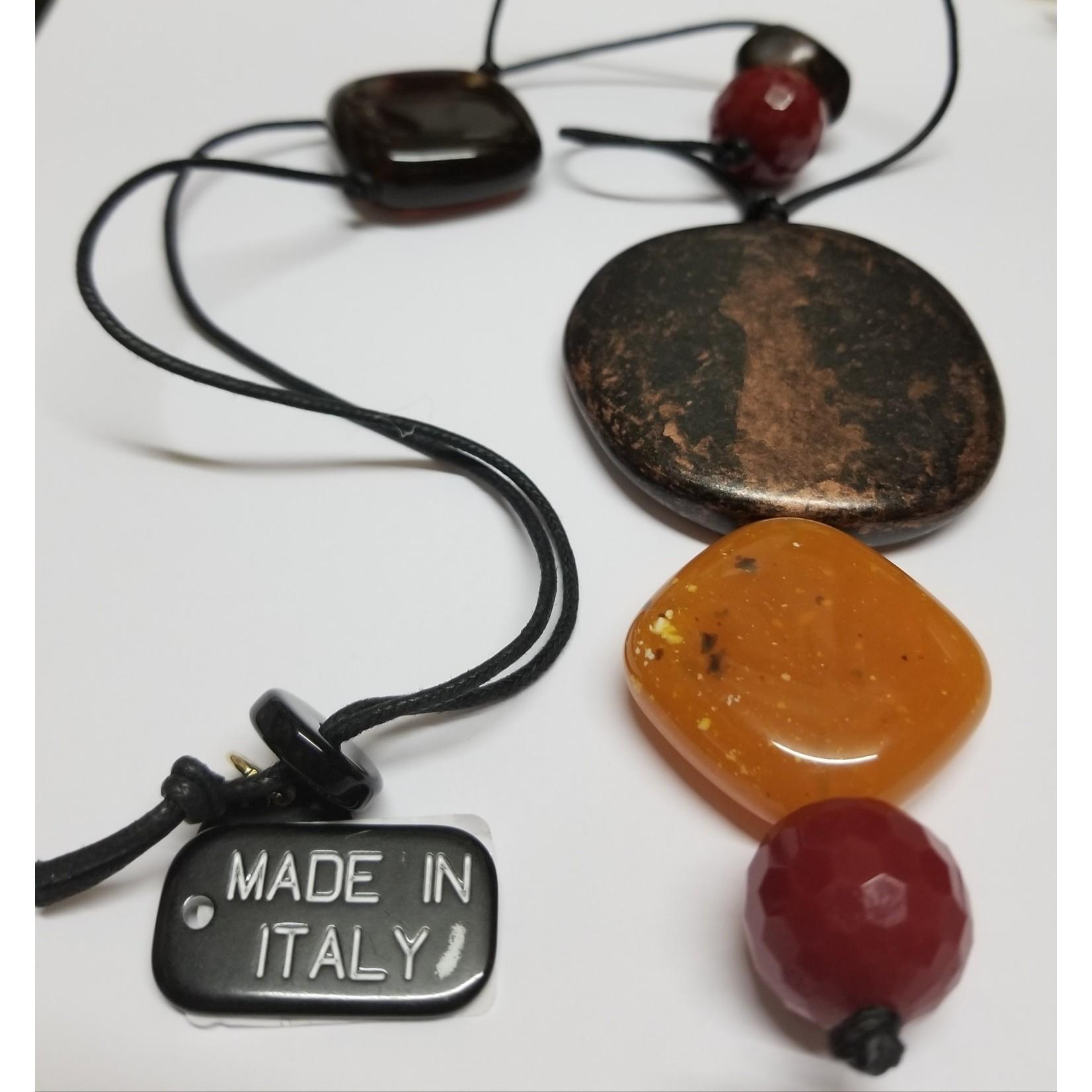 Necklace/Long/CoprRedRustGeoStonesBlkCord